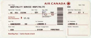 My boarding pass for the flight home with Kye and Lani